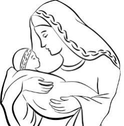 Advent Coloring Page - Advent Virgin Mary And Baby Jesus