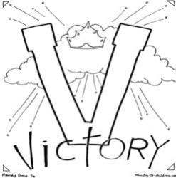 Coloring Page-V-Victory