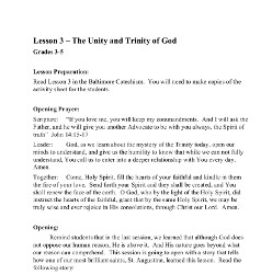 The Unity and Trinity of God - Lesson Plan - Grades 3-5