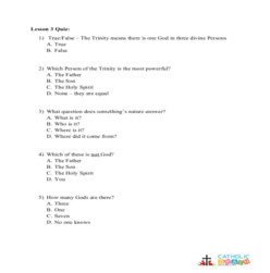 The Unity and Trinity of God - Quiz - Grades 3-5
