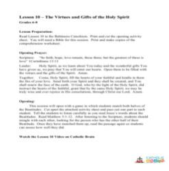 The Virtues and the Gifts of the Holy Ghost - Lesson Plan - Grades 6-8