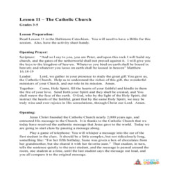 The Catholic Church - Lesson Plan - Grades 3-5