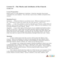 The Marks and Attributes of the Church - Lesson Plan - Grades 6-8