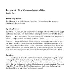 The First Commandment of God -  Lesson Plan - Grades 3-5