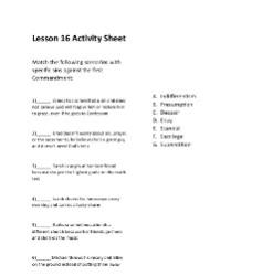 The 1st Commandment of God - Activity Sheet -Grade 6-8