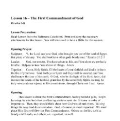 The First Commandment of God - Lesson Plan - Grades 6-8