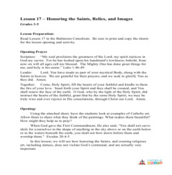 Honoring the Saints, Relics, and Images - Lesson Plan  - Grades 3-5