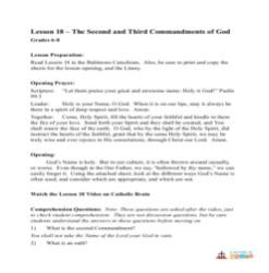 The 2nd and 3rd Commandments of God - Lesson Plan - Grades 6-8