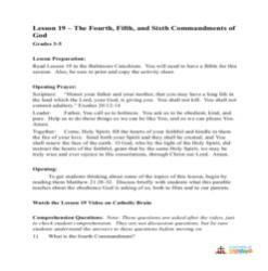 The 4th, 5th, and 6th Commandments of God - Lesson Plan - Grades 3-5