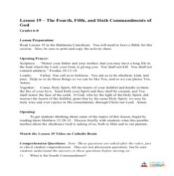 The 4th, 5th, and 6th Commandments of God - Lesson Plan - Grades 6-8