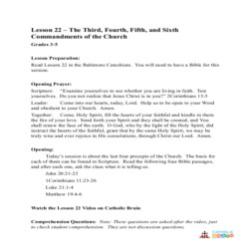 The 3rd, 4th, 5th, and 6th Commandments of the Church - Lesson Plan - Grades 3-5