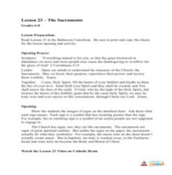 The Sacraments - Lesson Plan- Grades 6-8