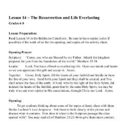 The Resurrection and Life Everlasting - Lesson Plan - Grades 6-8