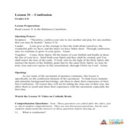 Confession - Lesson Plan - Grades 6-8