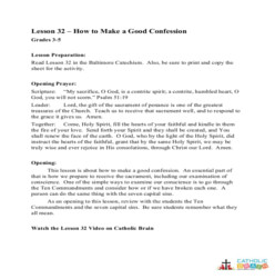 How to Make a Good Confession -  Lesson Plan - Grades 3-5