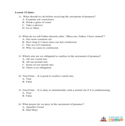 How to Make a Good Confession - Quiz - Grades 3-5