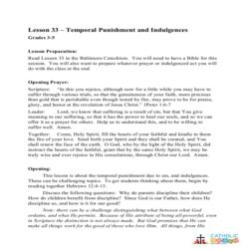 Temporal Punishment and Indulgences - Lesson Plan- Grades 3-5