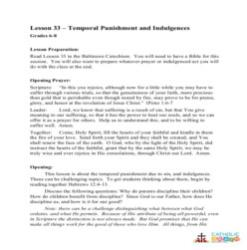 Temporal Punishment and Indulgences - Lesson Plan- Grades 6-8