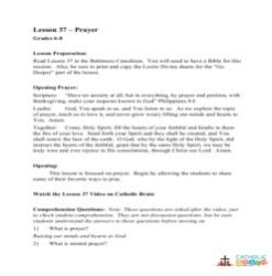Prayer - Lesson Plan - Grades 6-8