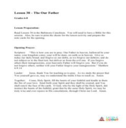 The Our Father - Lesson Plan - Grades 6-8