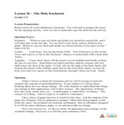 The Holy Eucharist -  Lesson Plan  - Grades 3-5