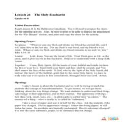 The Holy Eucharist - Lesson Plan - Grades 6-8