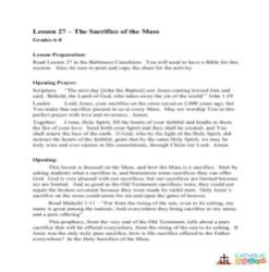 The Sacrifice of the Mass - Lesson Plan - Grades 6-8