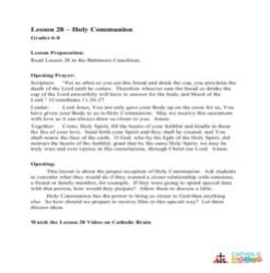 Holy Communion - Lesson Plan - Grades 6-8