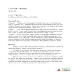 Penance -  Lesson Plan - Grades 6-8