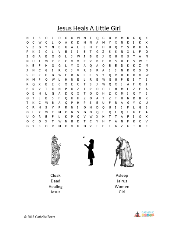 Jesus Heals a Little Girl - Word Search